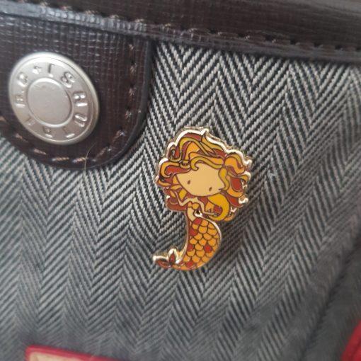 zodiac mermaid leo enamel pin on bag