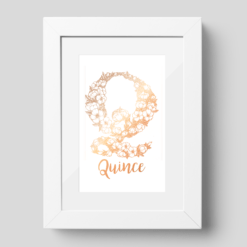 """Q"" Floral Monogram, foiled in rose gold"