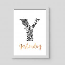 """Y"" Personalised Floral Monogram, foiled in rose gold"