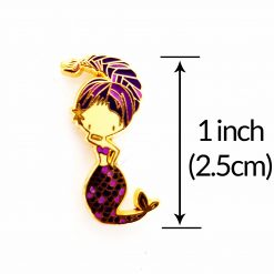 Scorpio Mermaid Enamel Pin with measurements