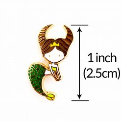 Taurus Mermaid Enamel Pin with measurements