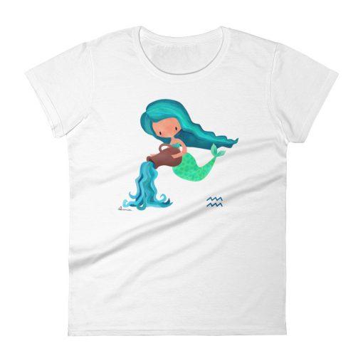 Aquarius Zodiac Mermaid Tshirt Front