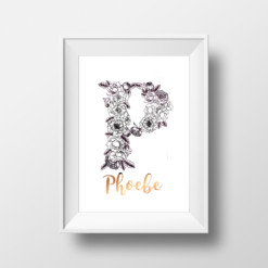 P is for Peony - Floral Monogram