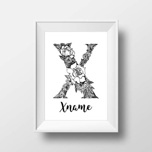 X Mixed Floral Monogram