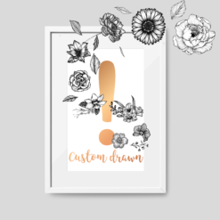 Custom Illustrated Floral Monogram