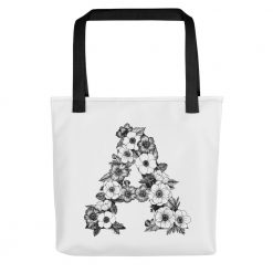 "Floral Monogram Tote ""A"""
