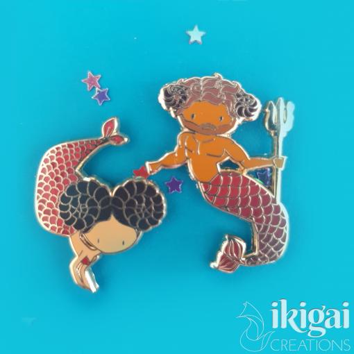Aries Zodiac Merfolk Mini Enamel Pins