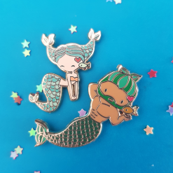 Pisces Zodiac Merfolk Mini Enamel Pins