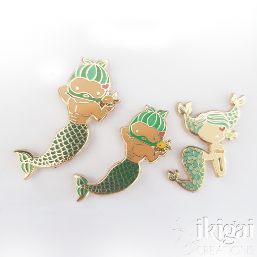 Pisces Zodiac Merfolk Mini Enamel Pin
