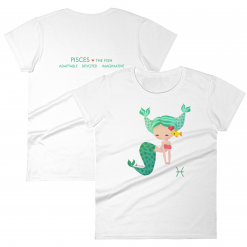 Pisces Zodiac Mermaid Tshirt Front & Back