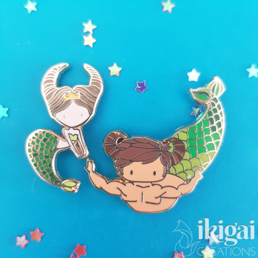 Taurus Zodiac Merfolk Mini Enamel Pins