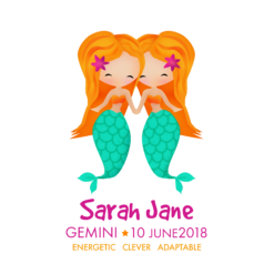 Personalised Gemini Mermaids Print