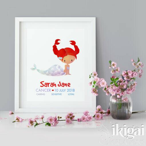 Framed Cancer Mermaid Print