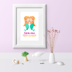 Framed Gemini Mermaid Print