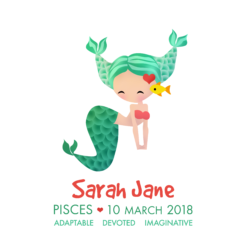 Personalised Pisces Mermaids Print
