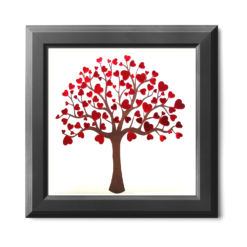 wallart - vday 2019 - heart blossoms - black frame