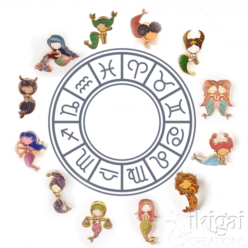 Zodiac Mermaid Enamel Pin Set of 12
