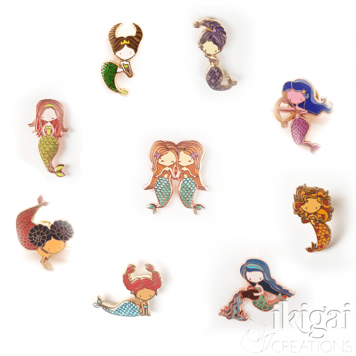 Zodiac Mermaid Pins